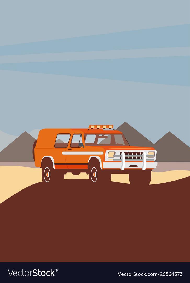 Flat design car in motion on a safari trip