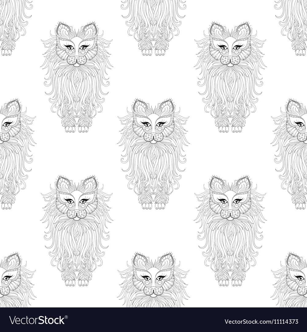Fluffy Cat seamless pattern zentangle style
