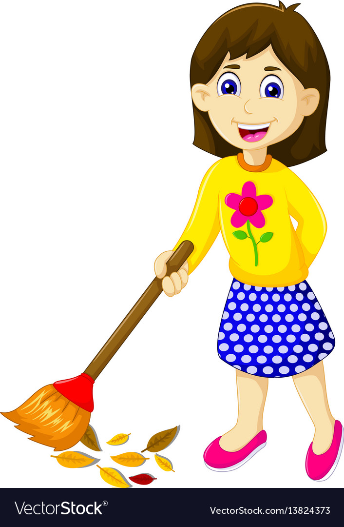 Funny mother cartoon sweeping vector image