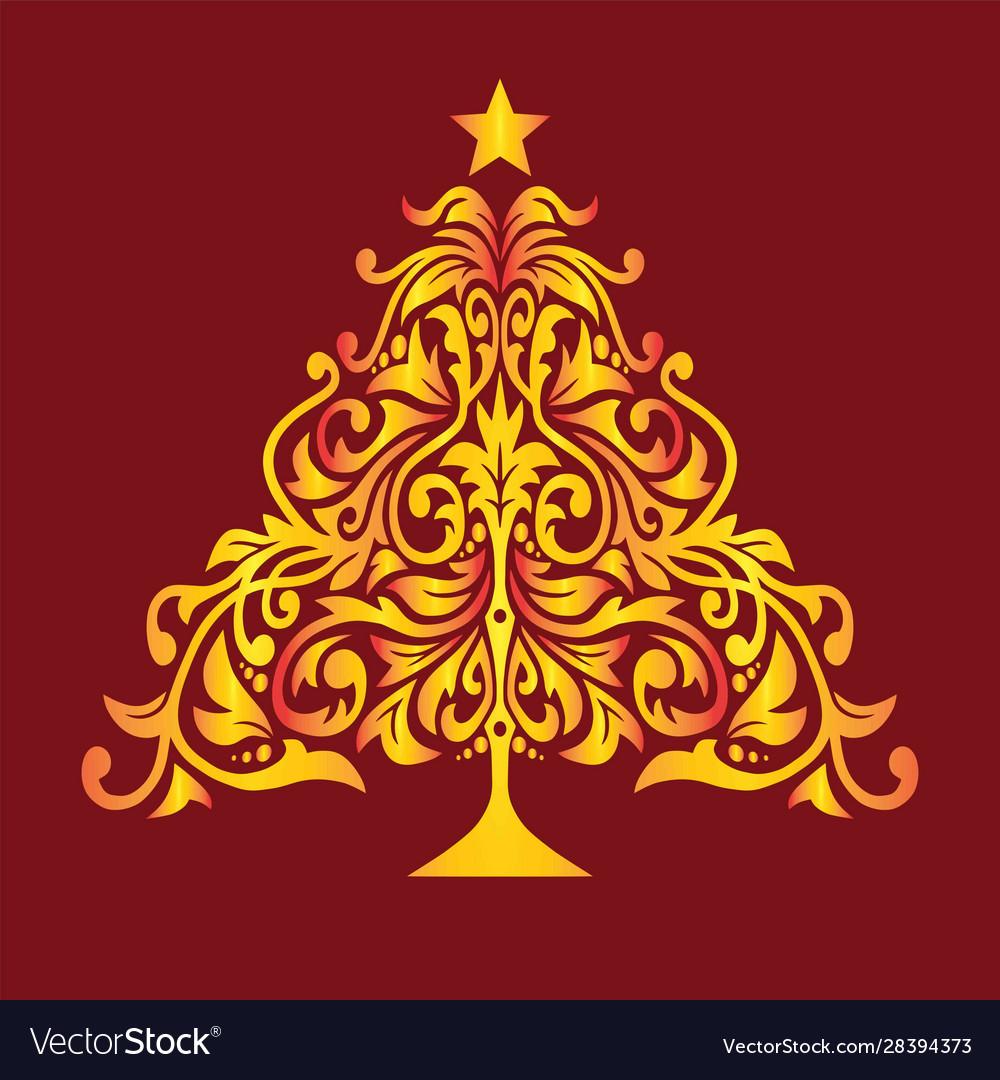 Golden christmas tree new year invitation card