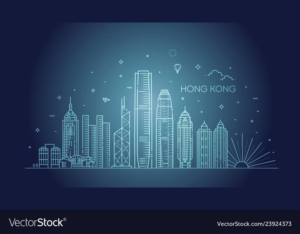 Hong kong skyline in linear