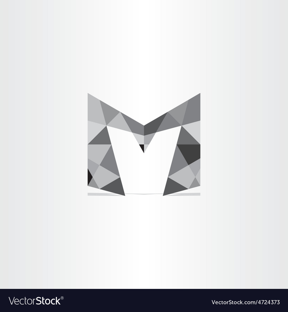 Letter m polygon grayscale icon