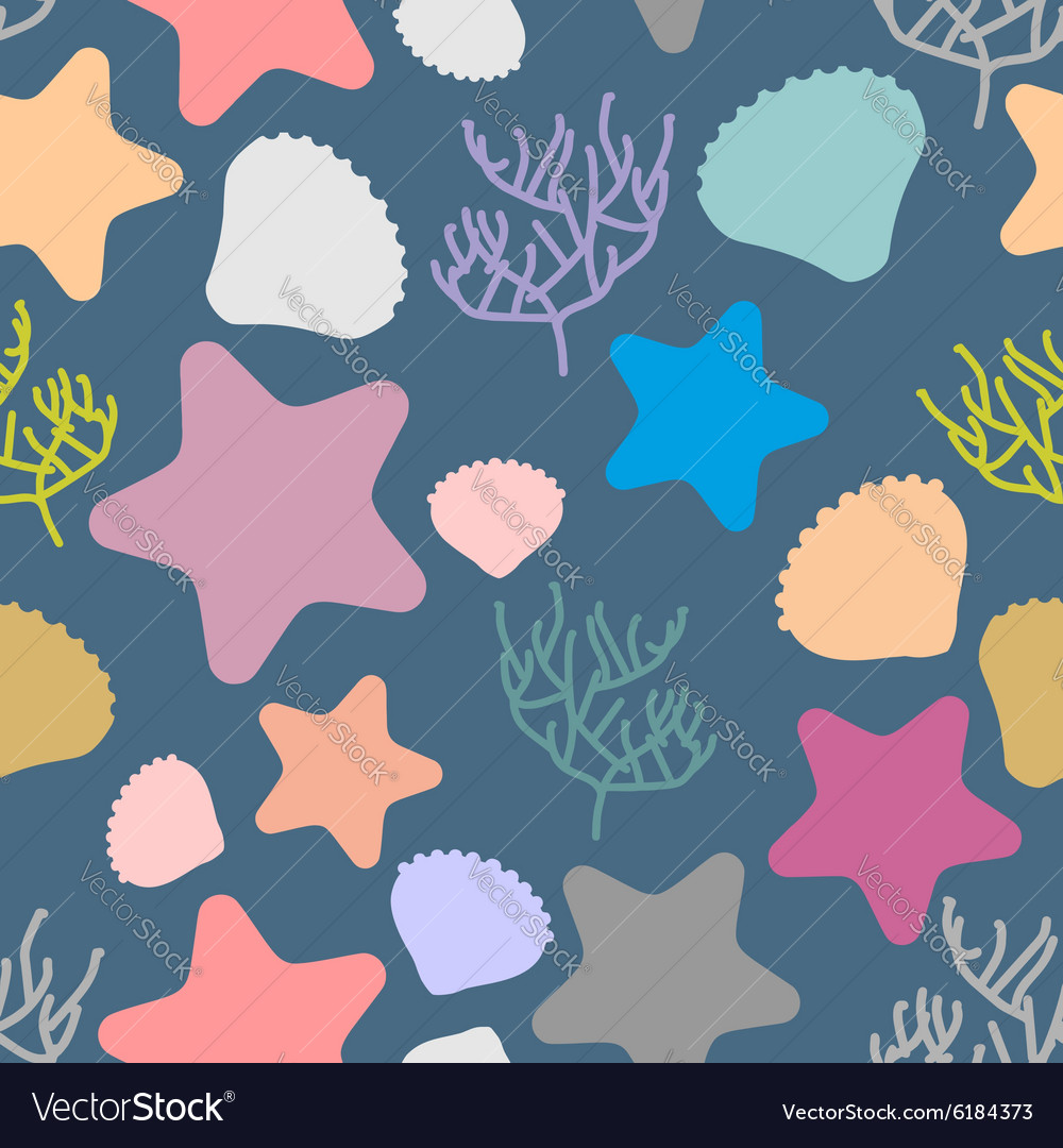 Marine seamless pattern Colored silhouettes of