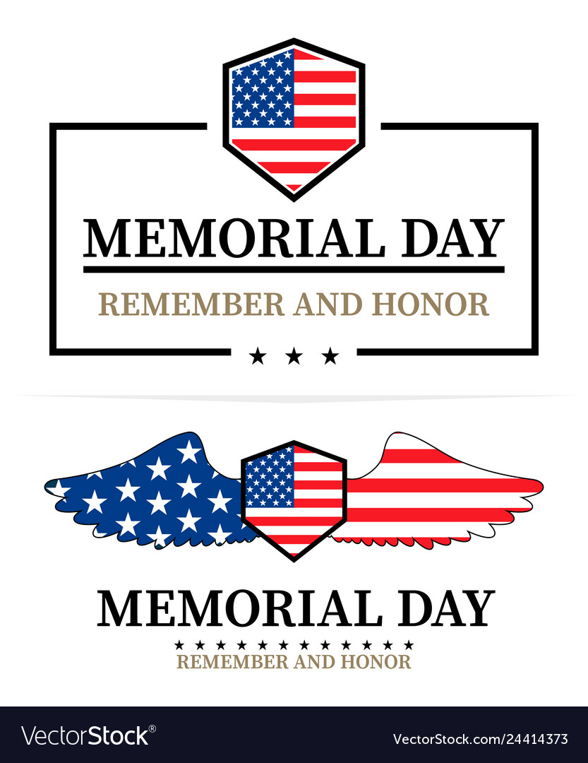 Memorial day labels on a white background