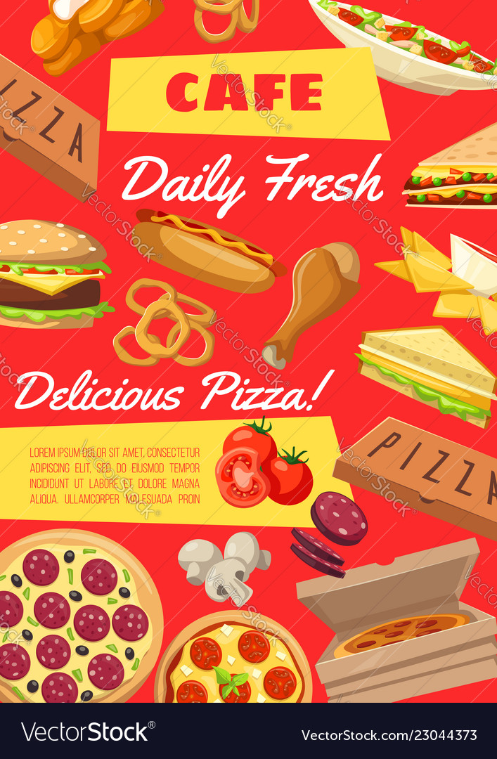 menu template in fastfood cafe snack poster vector image