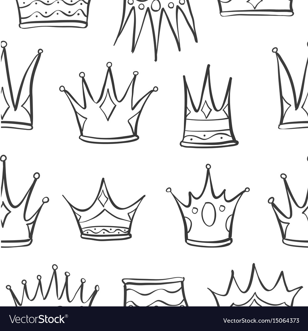 Pattern crown hand draw art vector image