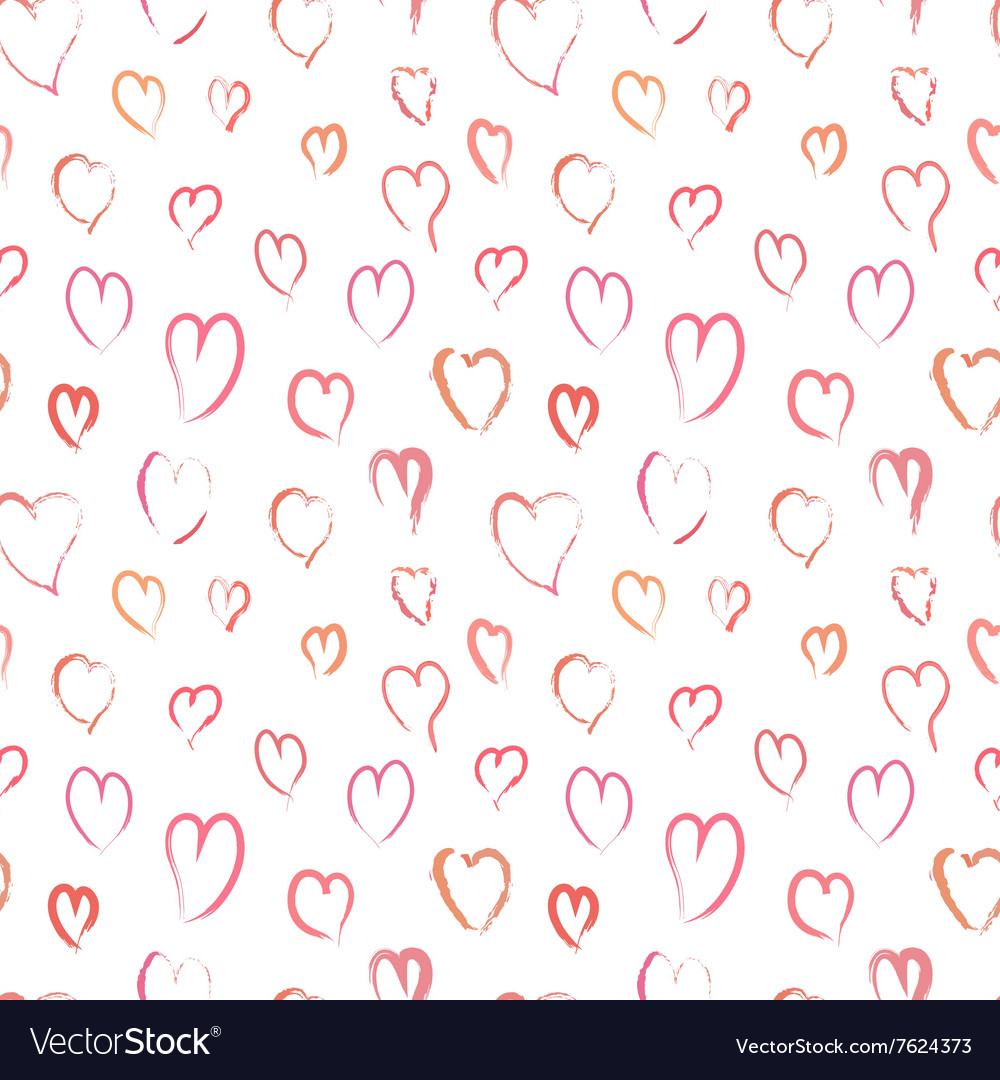 Pink hand drawn hearts seamless pattern