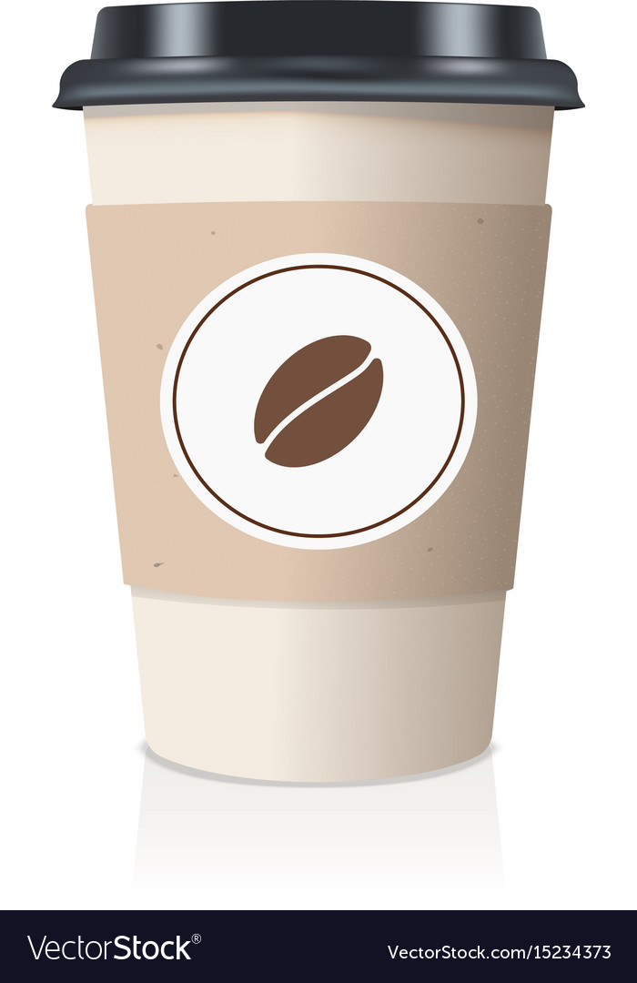 Realistic take away paper coffee cup vector image
