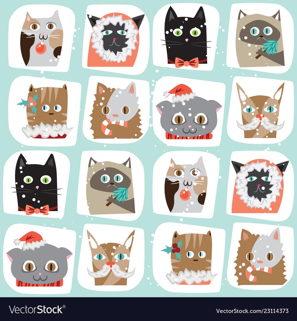 Seamless cartoon christmas cats
