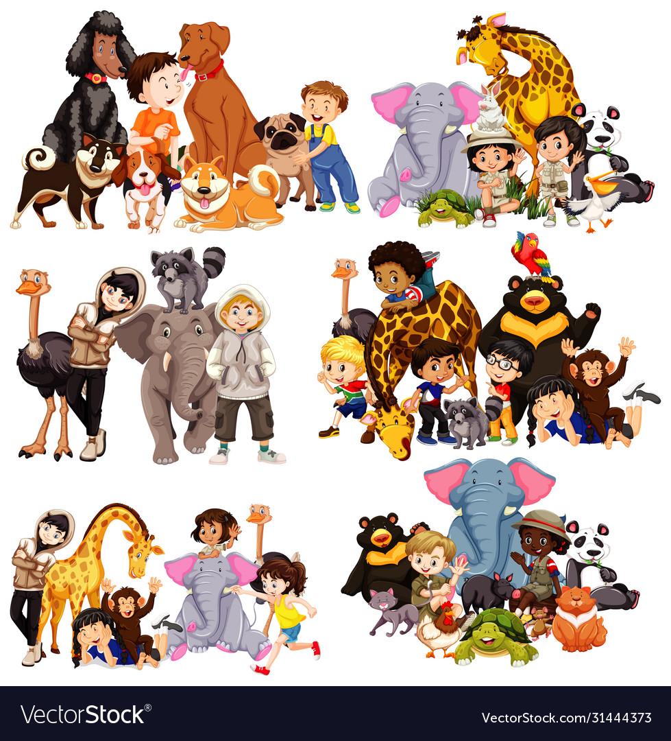 Set animal and children