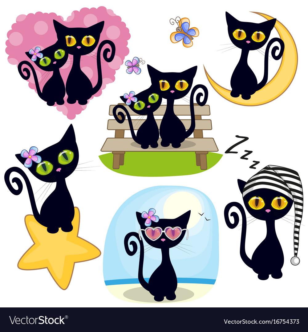 Set cute cartoon cat