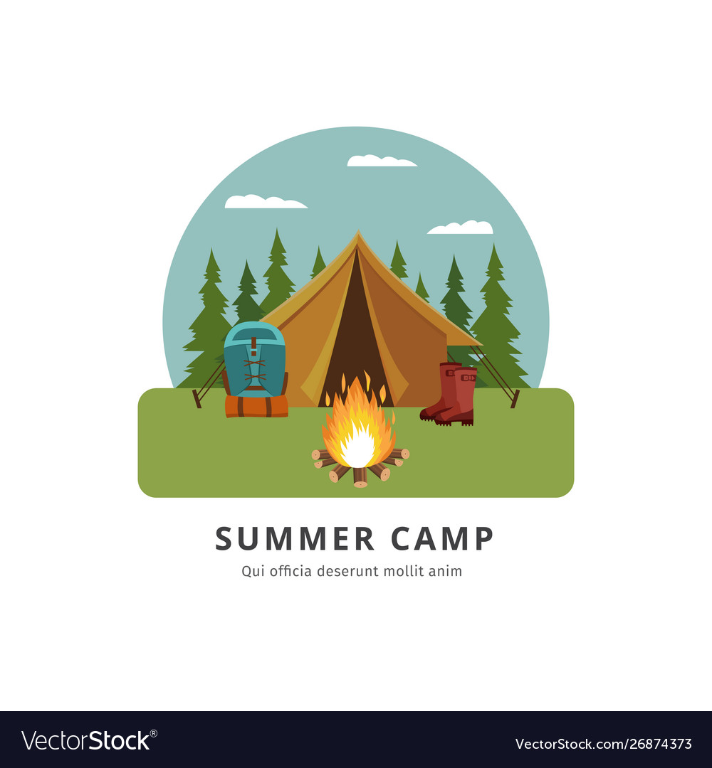 Summer camp - travel adventure site with yellow
