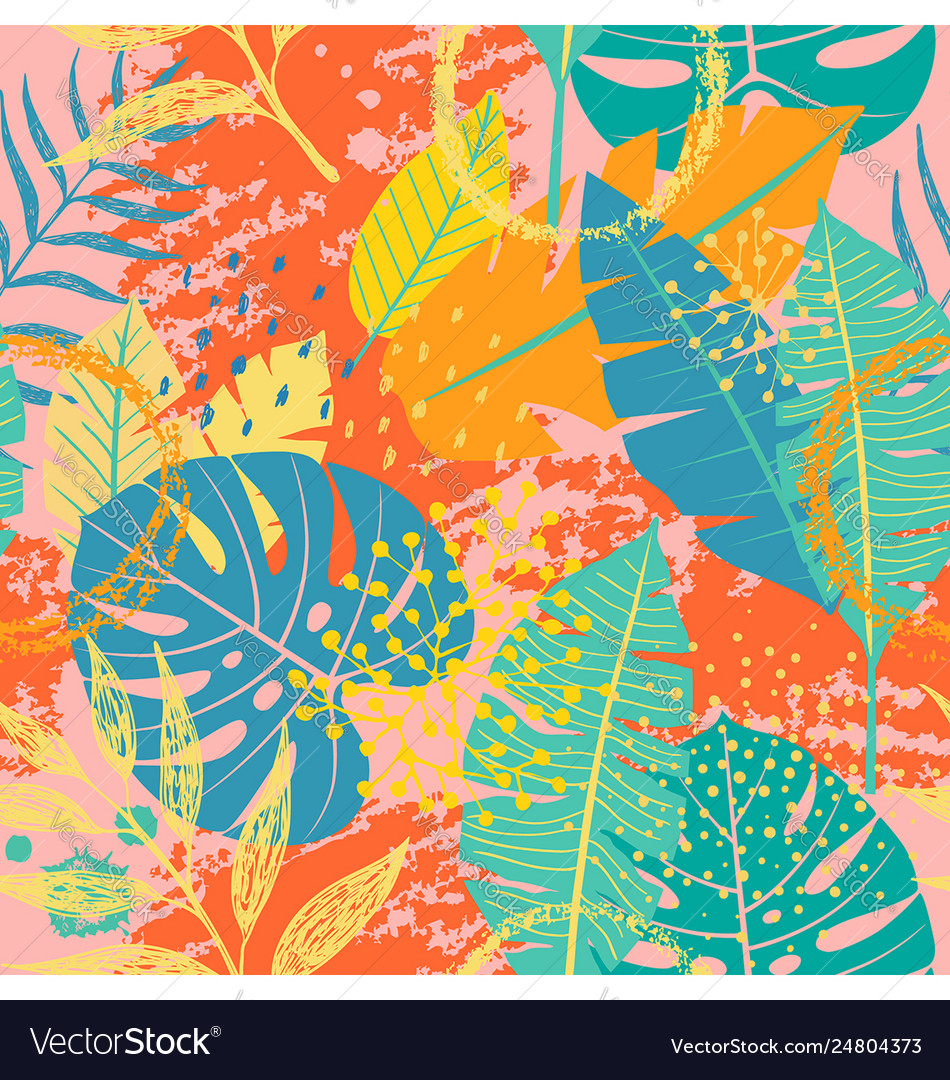 Tropical leaves and textures seamless pattern