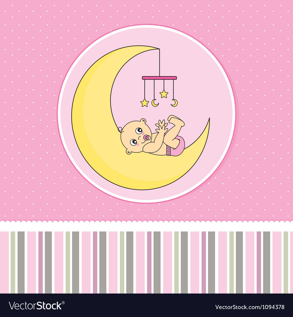 Baby Birth Announcement Card Vector Image