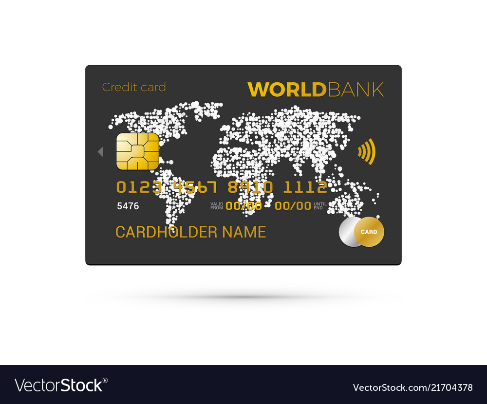 Black credit card with world map