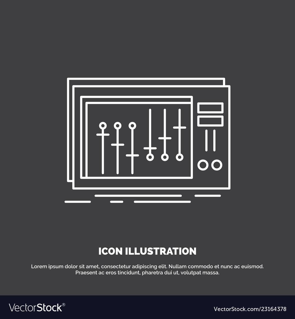 Console dj mixer music studio icon line symbol vector image on VectorStock