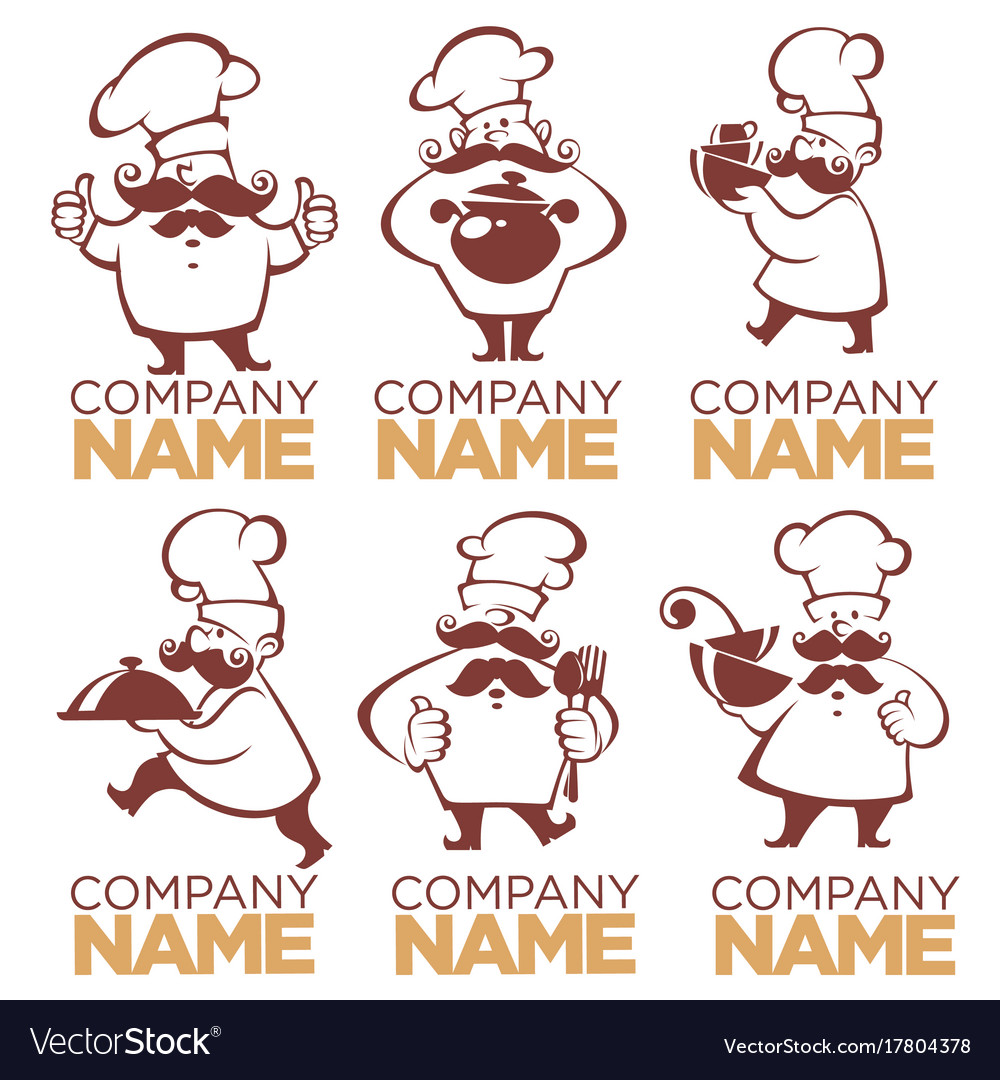 Cooking symbols food and chef silhouettes