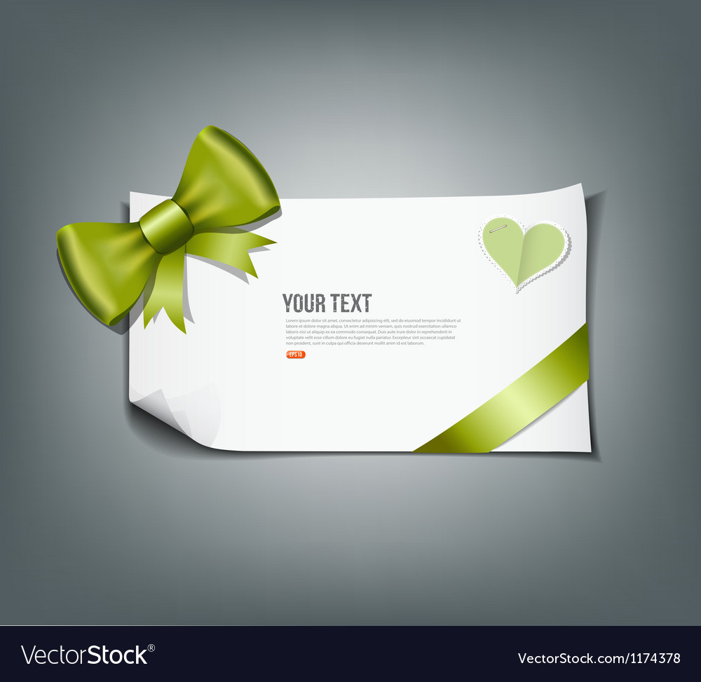 Green ribbon and white paper design background vector image