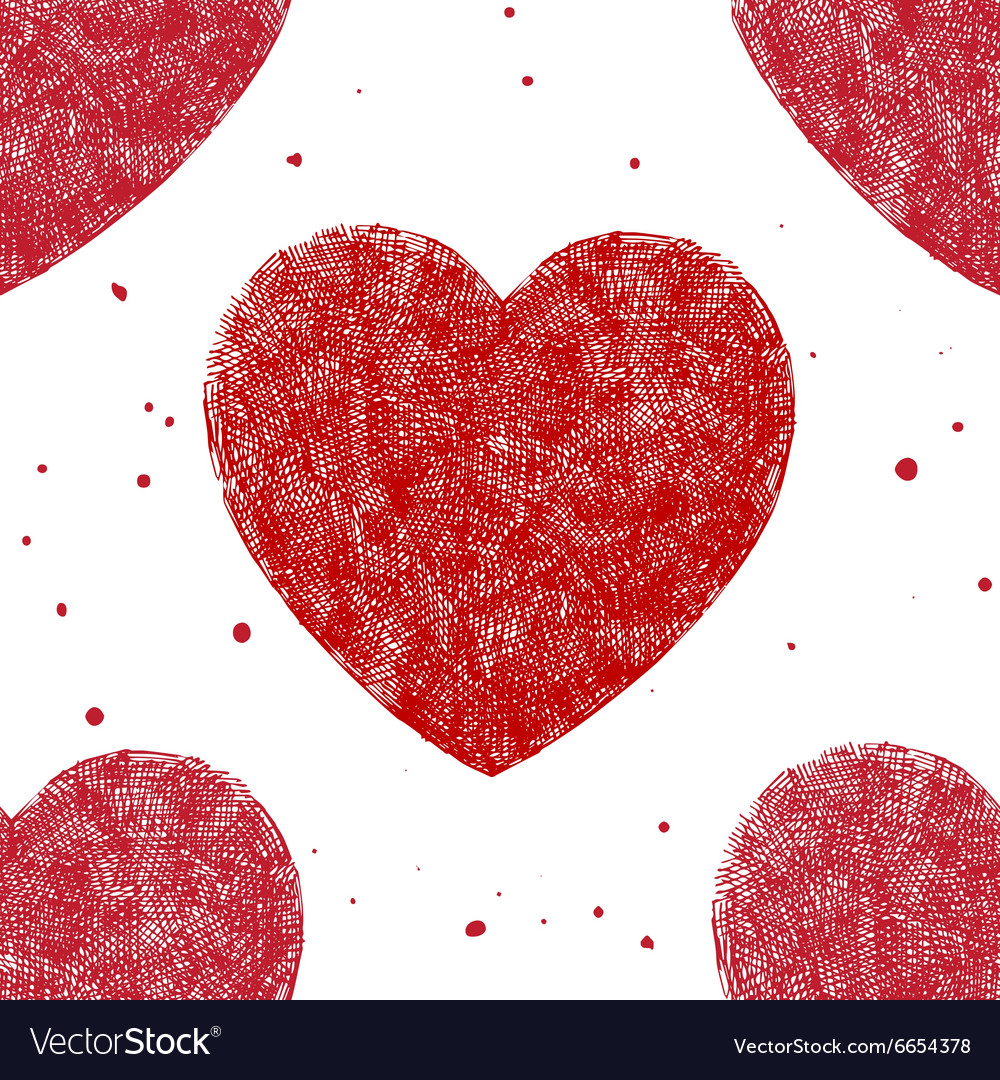 Hand drawn hearts red seamless pattern