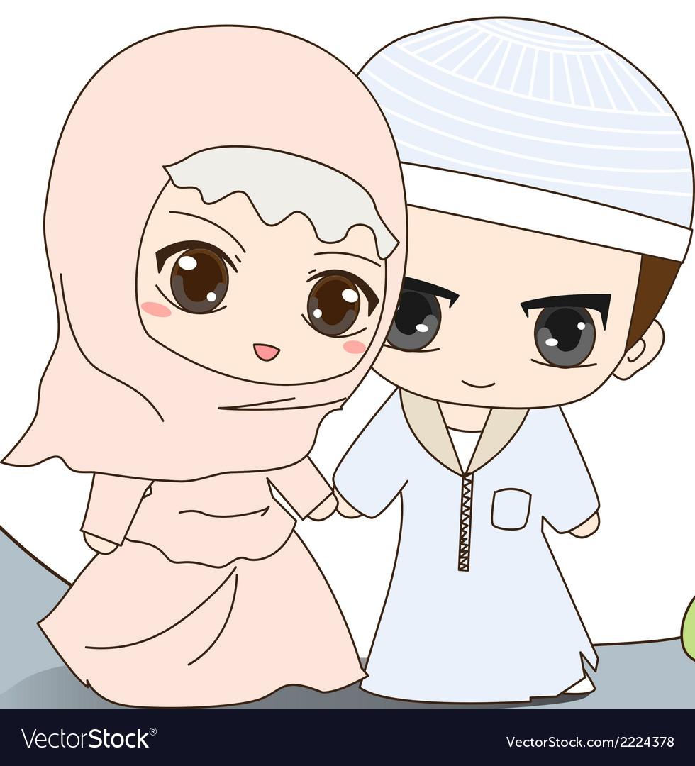 Muslim Wedding Dress Royalty Free Vector Image