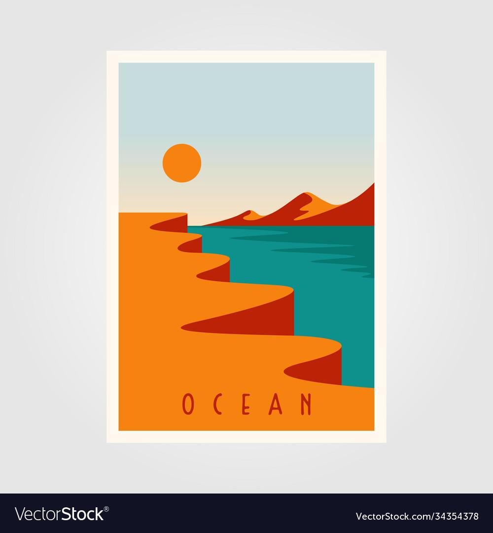Ocean sunset minimalist poster template design