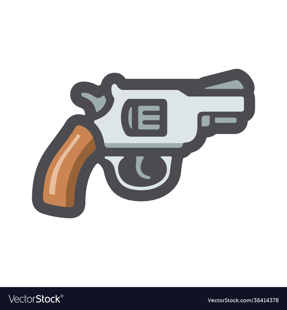 Revolver wlid west gun icon cartoon