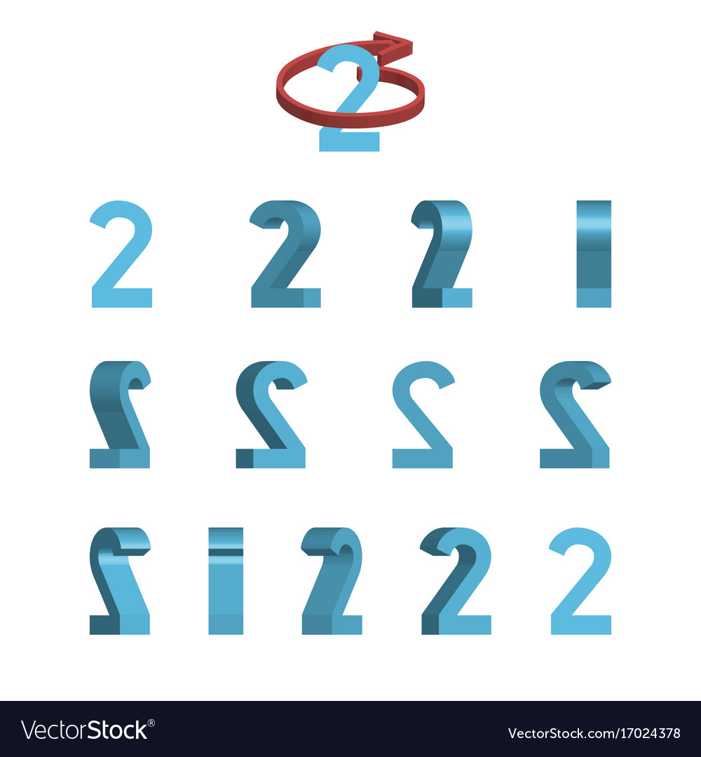 Sheet of sprites rotation of cartoon 3d number 2 Vector Image