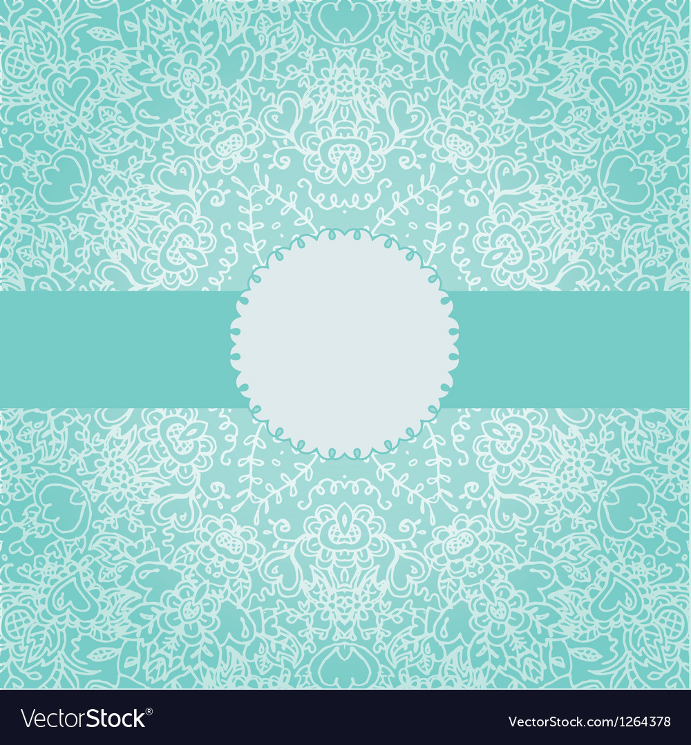 Vintage invitation card with round lace ornament vector image
