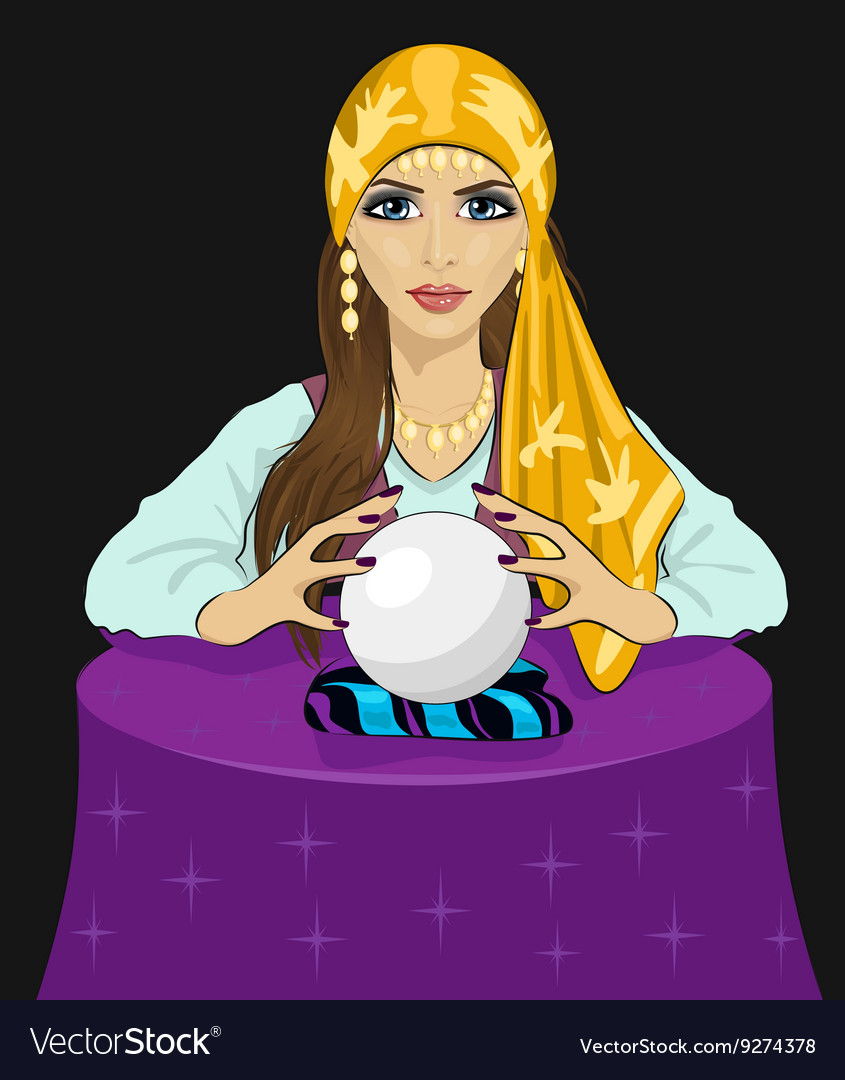 Young fortune teller woman with crystal ball