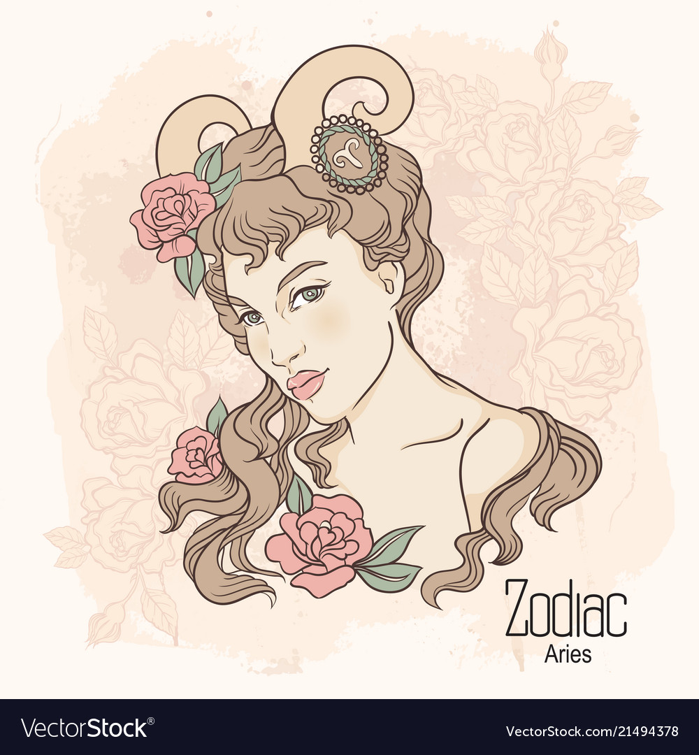 Zodiac of aries as girl with