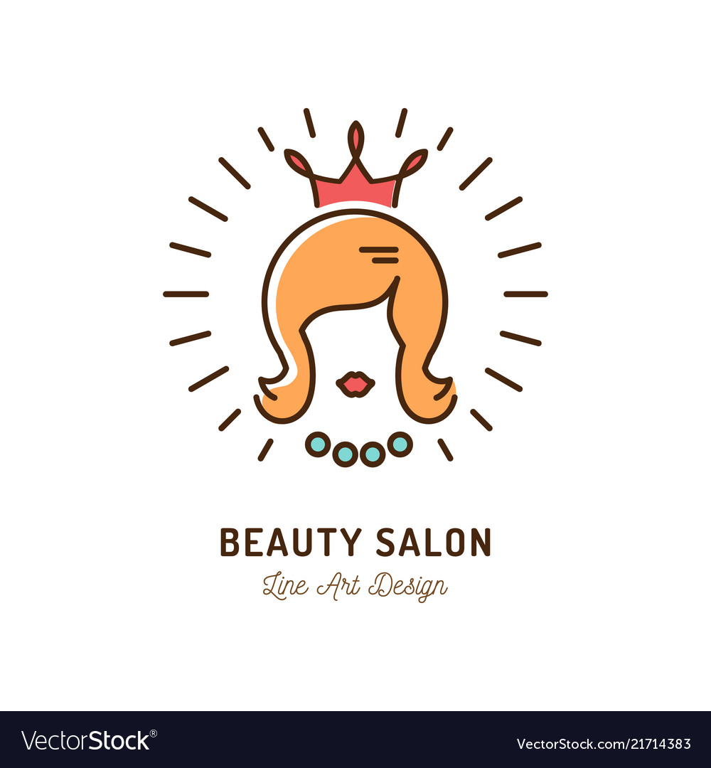 Beauty salon icon queen beauty logo hairdressing