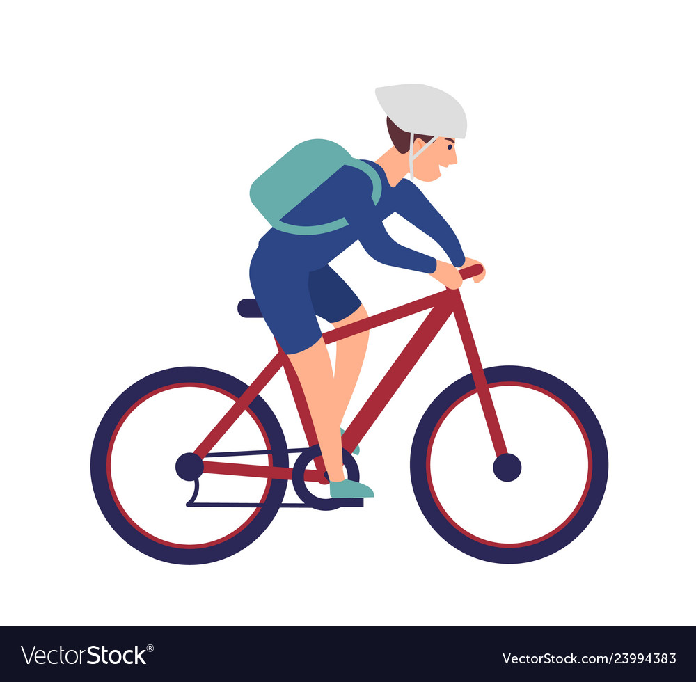 Cheerful boy in helmet riding bike smiling