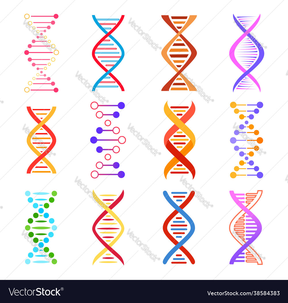 Dna helix icons genetic medicine signs set