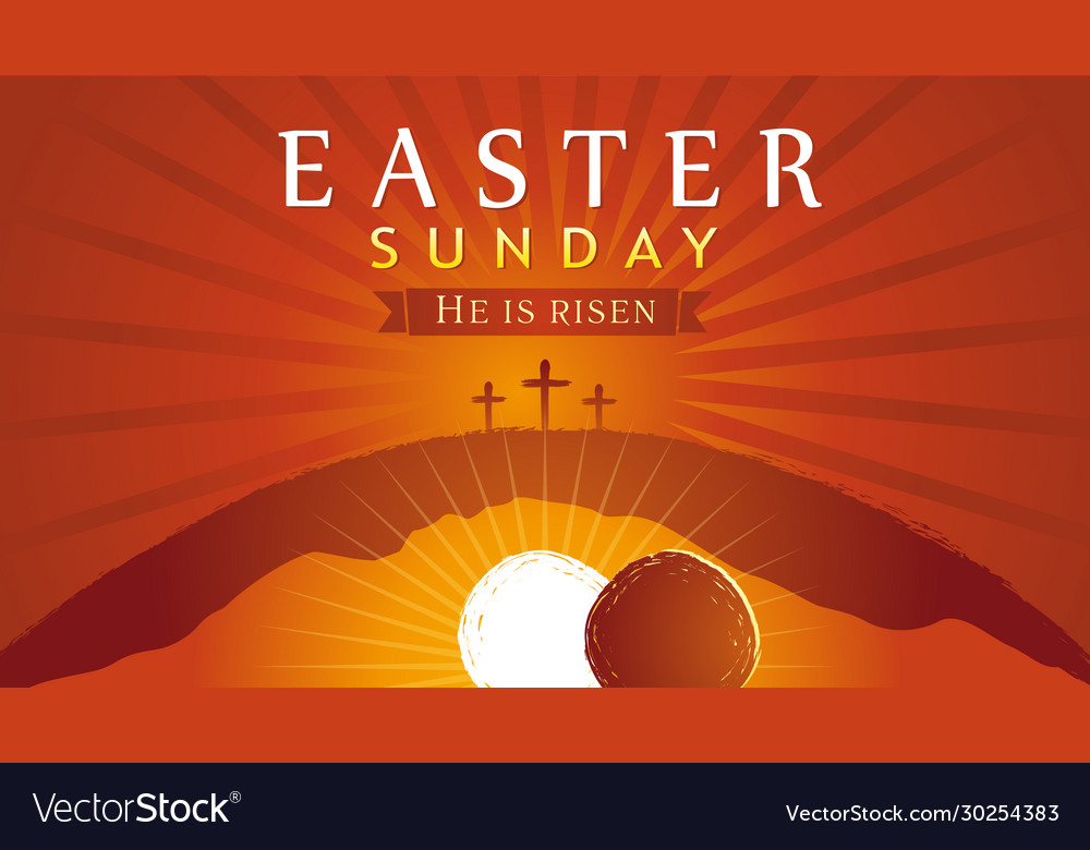Easter sunday he is risen tomb and crosses sunrise