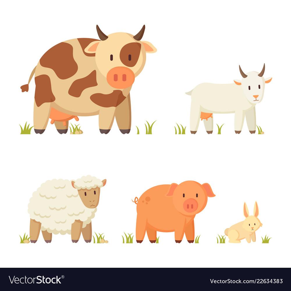 Farm and domestic animal cartoon set