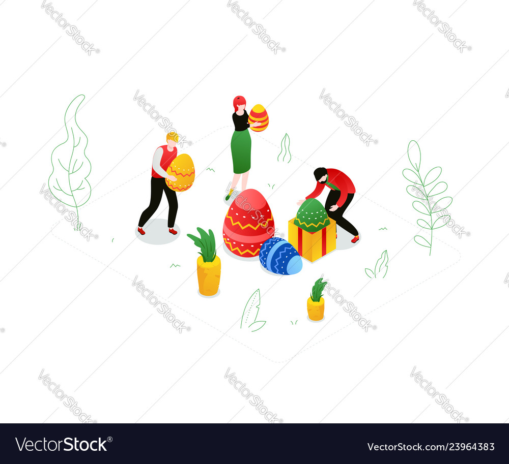 Happy easter - modern colorful isometric