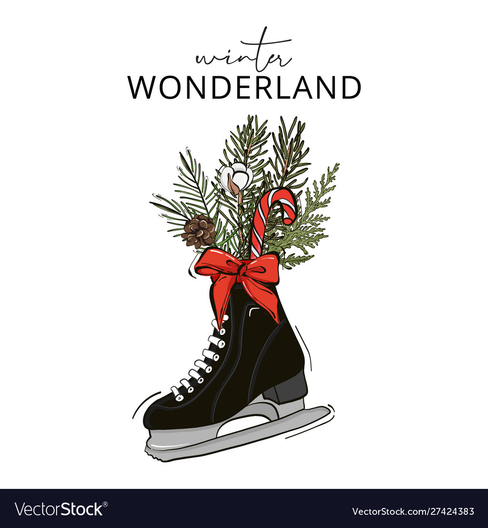Holiday decoration skate with fir branches