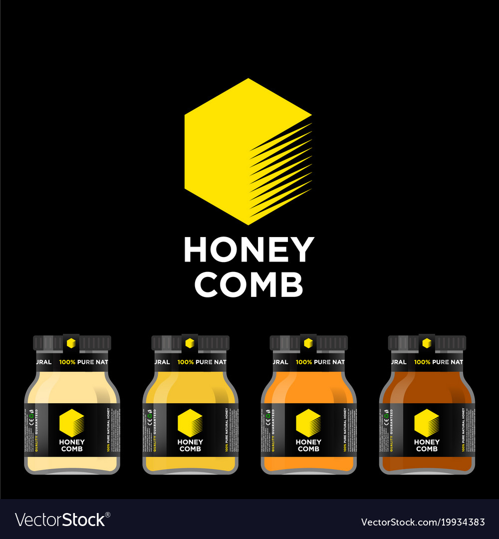 Honey comb logo packaging honey mockup jar