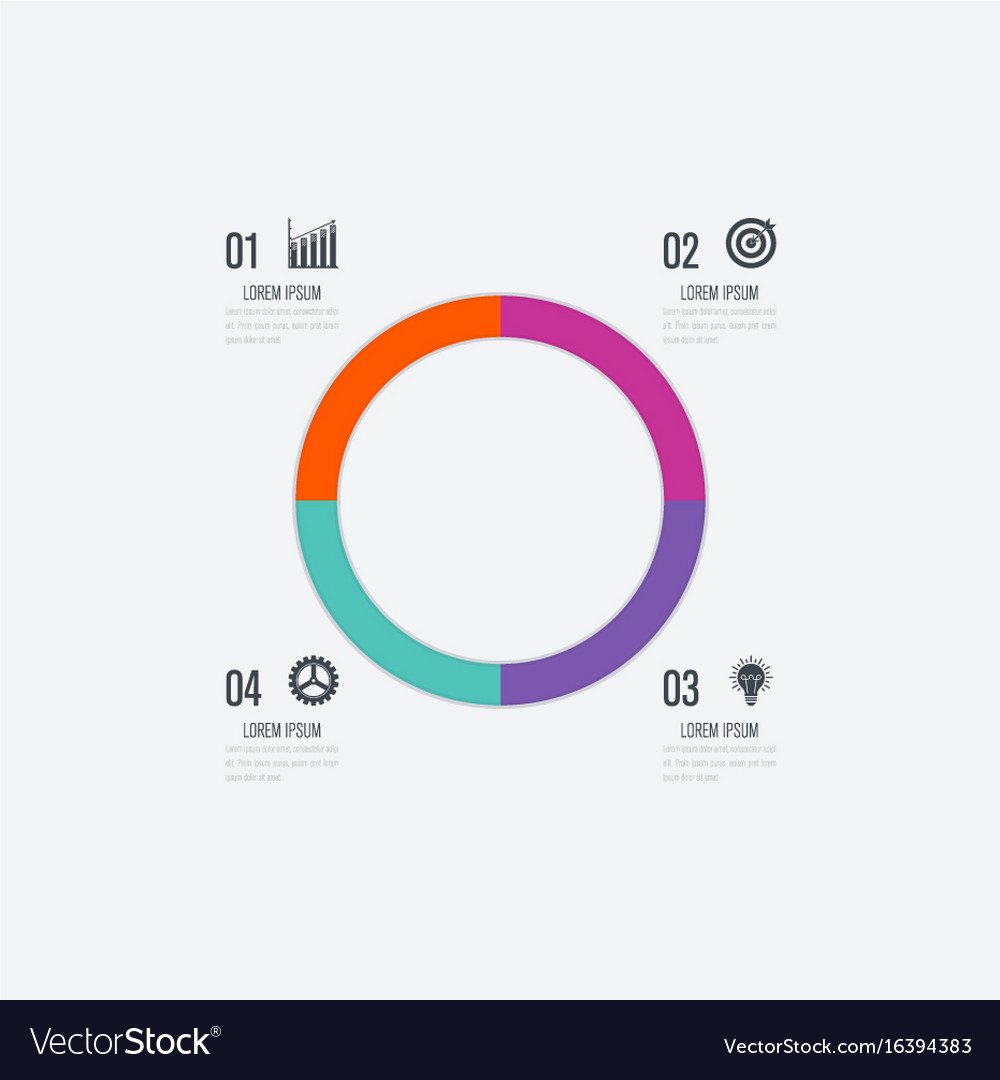 Infographics template 4 options with circle vector image