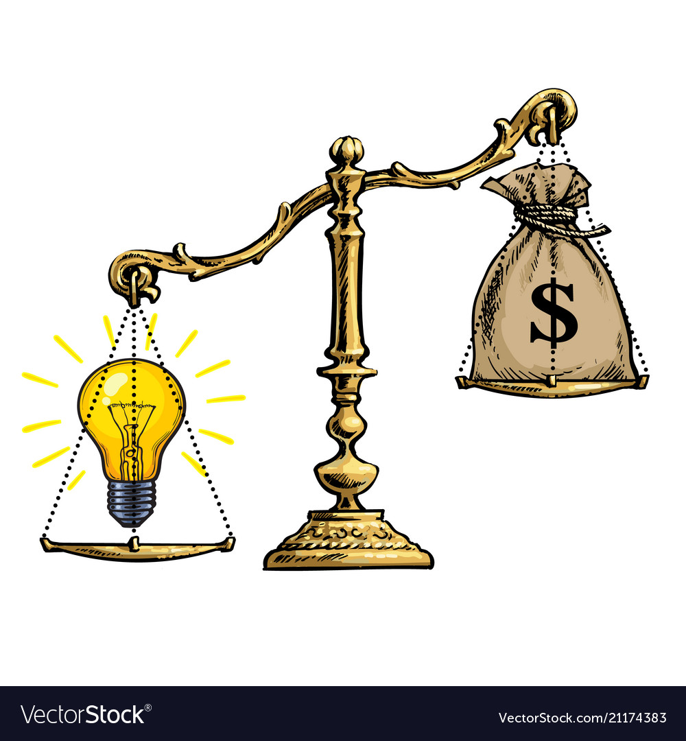 Light bulb idea and money on scales