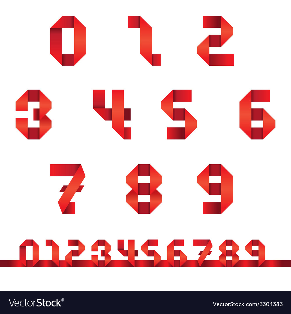 Numbers Set Origami Style