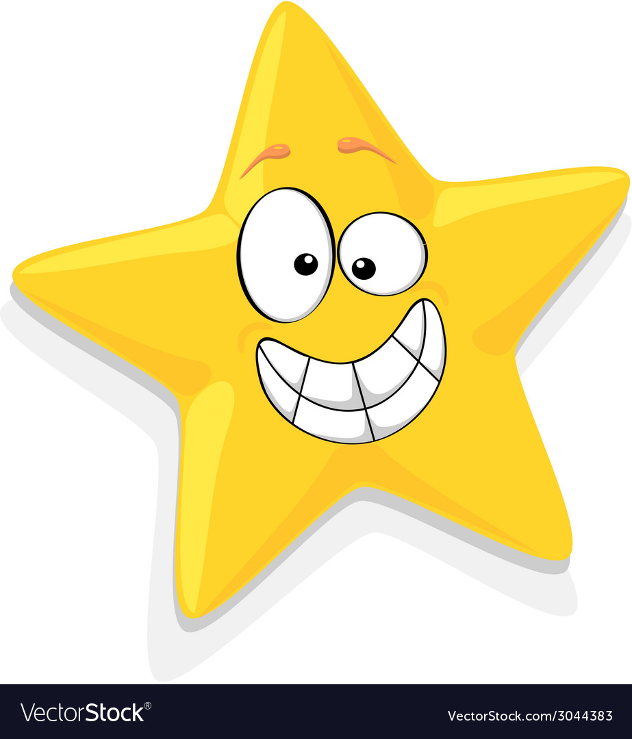 Of Happy Yellow Star Cartoon Characte vector image