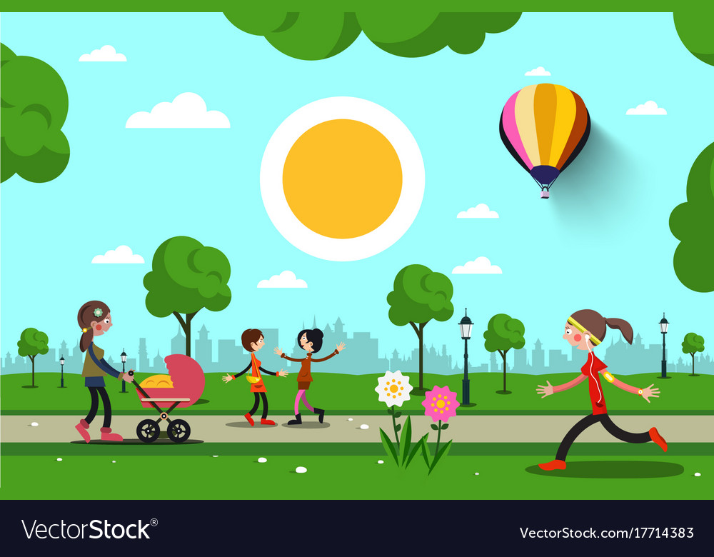 People in city park cartoon vector image