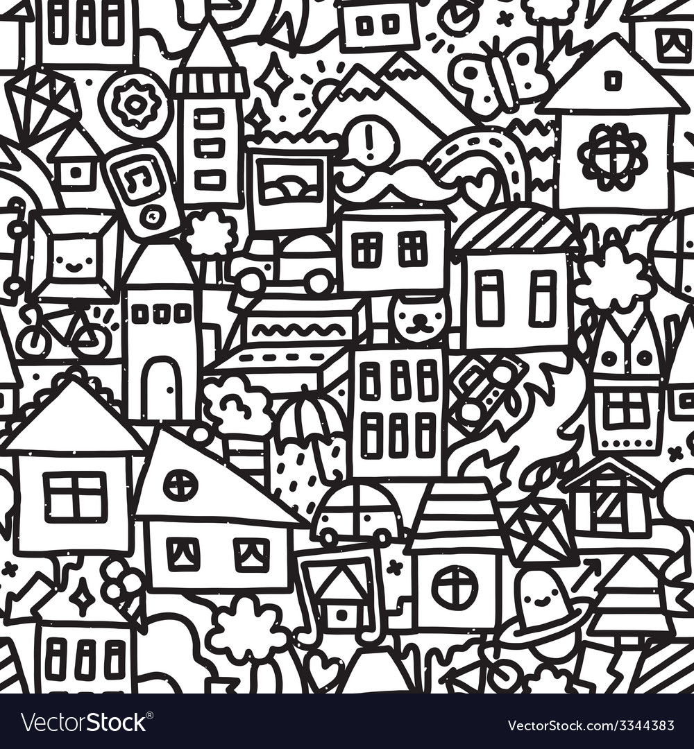Seamless doodle city pattern