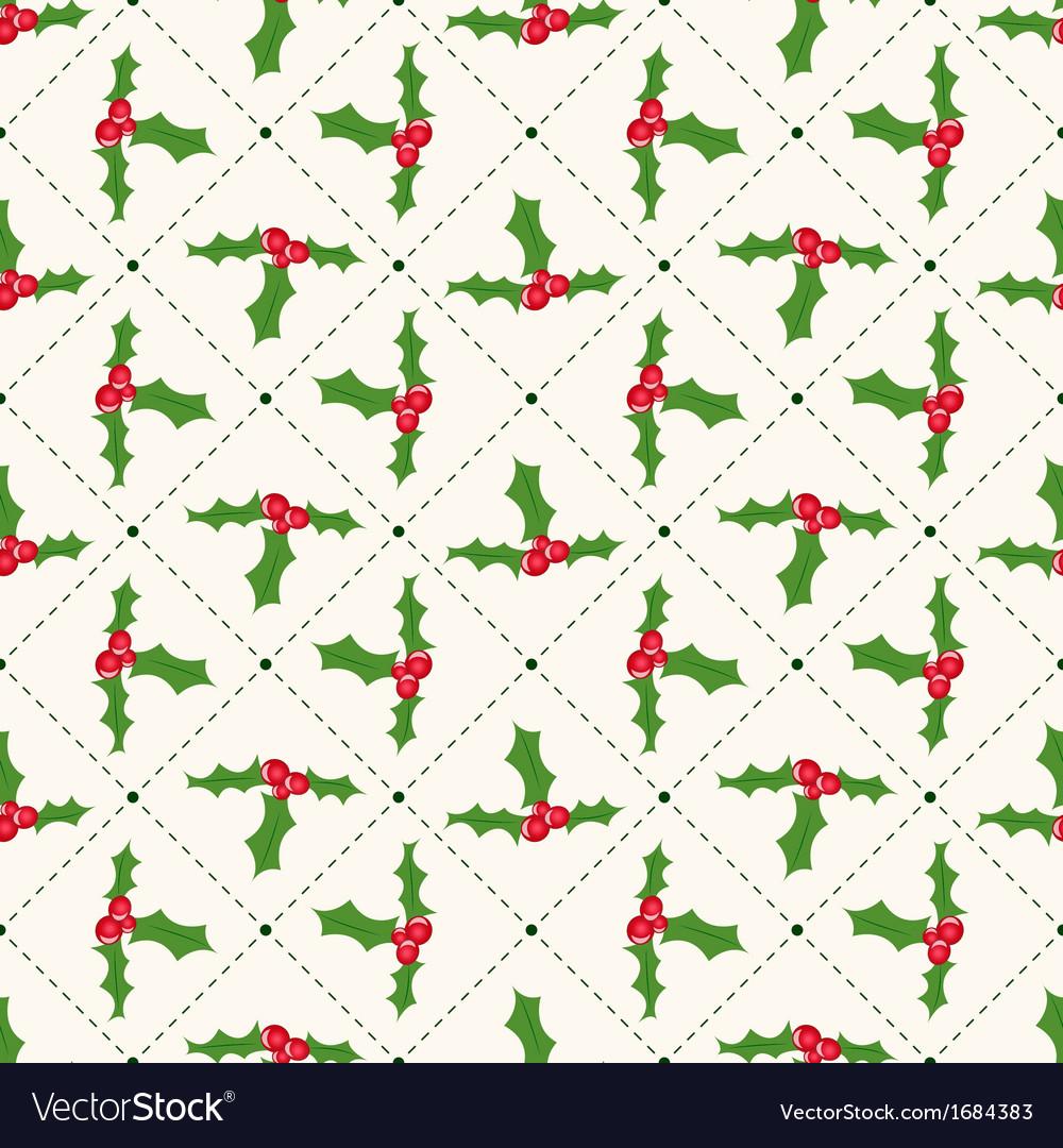 Seamless floral geometrical pattern with ilex