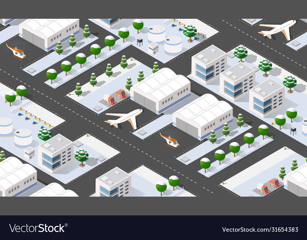 Seamless pattern isometric 3d city airport