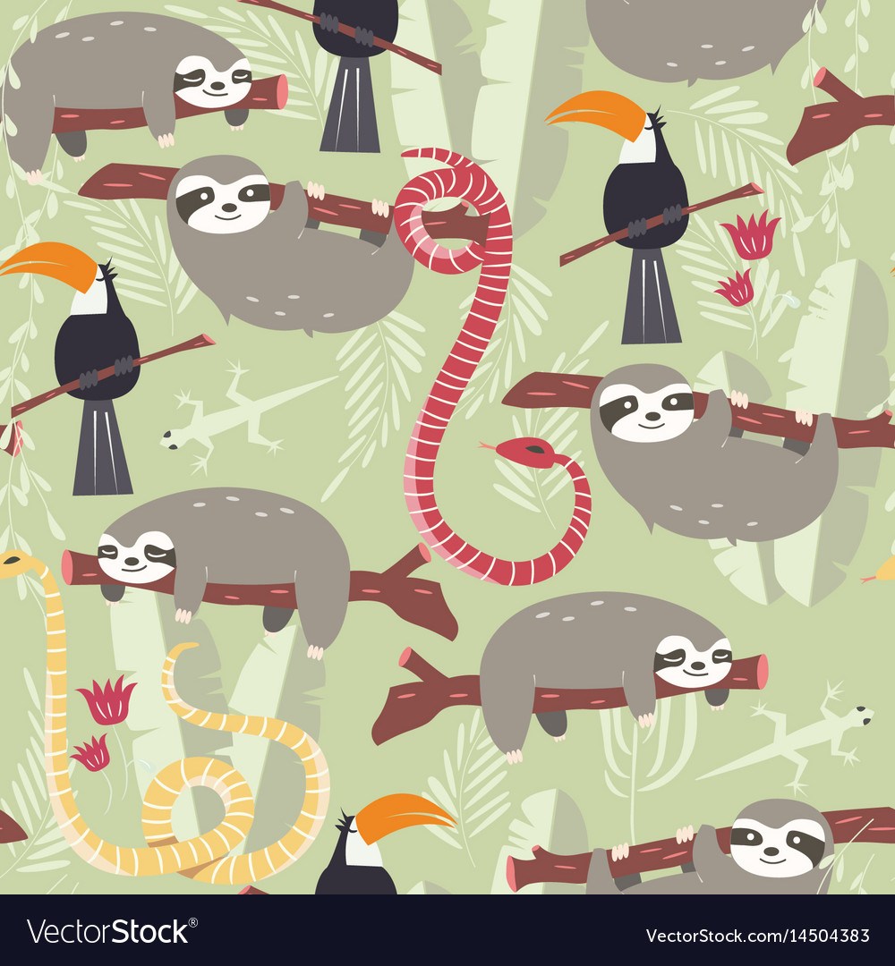 Seamless pattern with cute rain forest animals