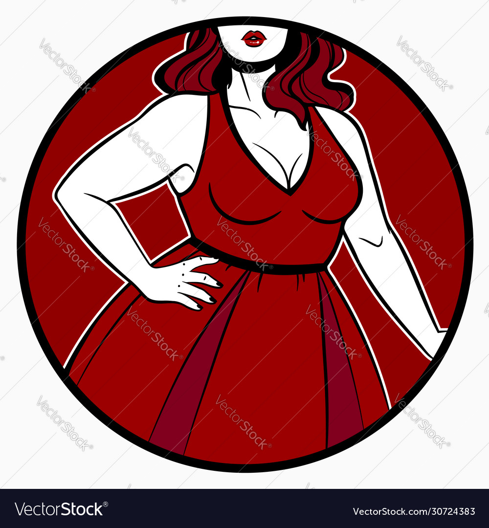 Women dress on plus size model