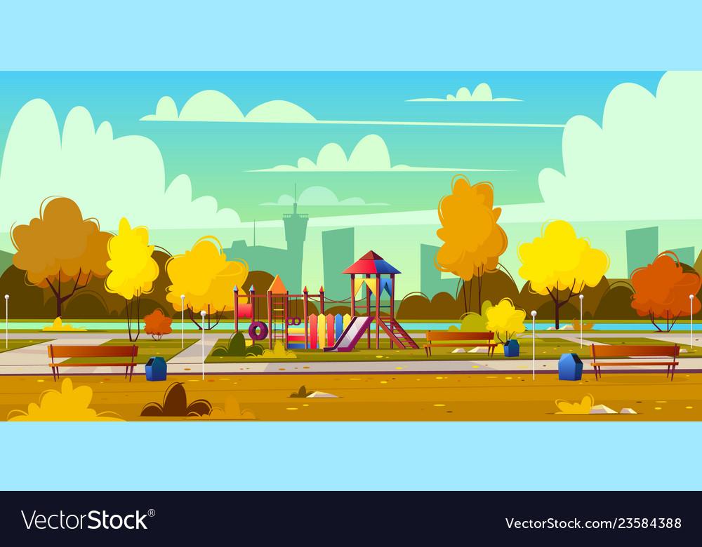 Background of playground in park autumn