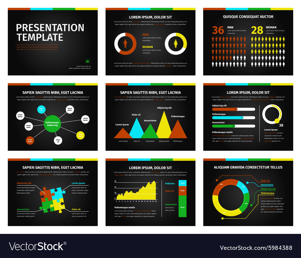 Colorful graphs and presentation graphics on black
